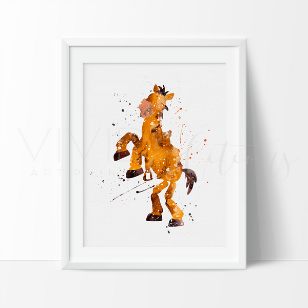 Bullseye, Toy Story Watercolor Art Print Art Print - VIVIDEDITIONS