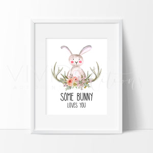 Some Bunny Loves You Watercolor Art Print Art Print - VIVIDEDITIONS