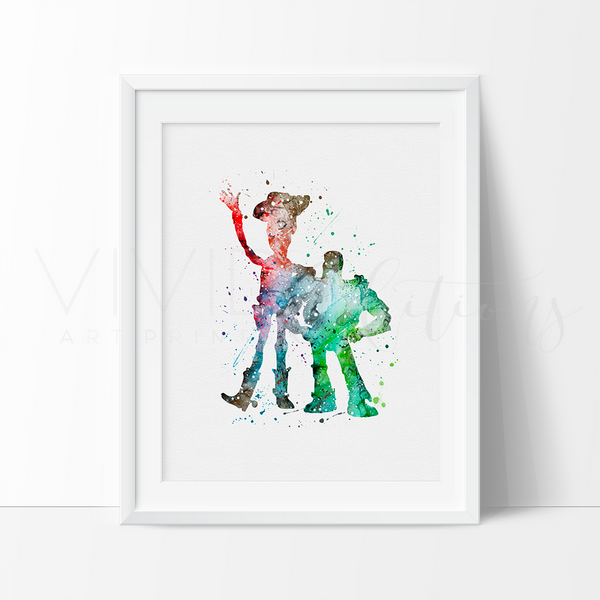 Buzz Lightyear and Woody 2 Watercolor Art Print Art Print - VIVIDEDITIONS