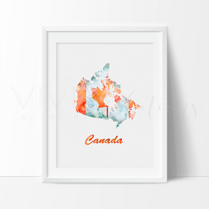 Map of Canada 2 Watercolor Art Print Art Print - VIVIDEDITIONS