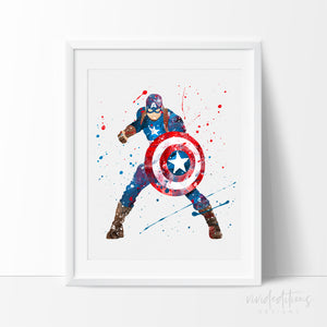 Captain America Watercolor Art Print 2 Art Print - VIVIDEDITIONS
