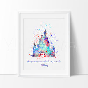Cinderella Princess Castle, Walt Disney Quote Watercolor Art Print Art Print - VIVIDEDITIONS