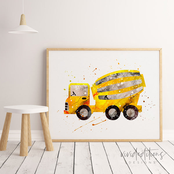 Construction Cement Truck Art Print Art Print - VIVIDEDITIONS