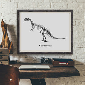 Ceratosaurus Vintage Dinosaur Illustration Art Print - VIVIDEDITIONS