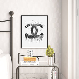 Chanel Monogram Watercolor Art Print Art Print - VIVIDEDITIONS