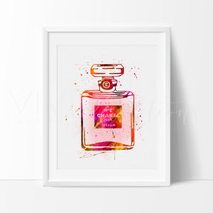 Chanel No. 5 Perfume Bottle Watercolor Art Print Art Print - VIVIDEDITIONS