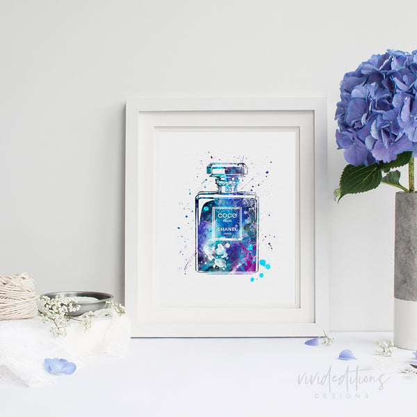 Coco Chanel Perfume Bottle Watercolor Art Print Art Print - VIVIDEDITIONS