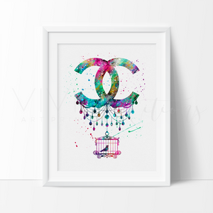 Coco Chanel Bird Cage Monogram Watercolor Art Print Art Print - VIVIDEDITIONS
