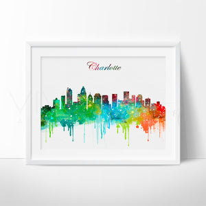 Charlotte, North Carolina Skyline Watercolor Art Print Art Print - VIVIDEDITIONS
