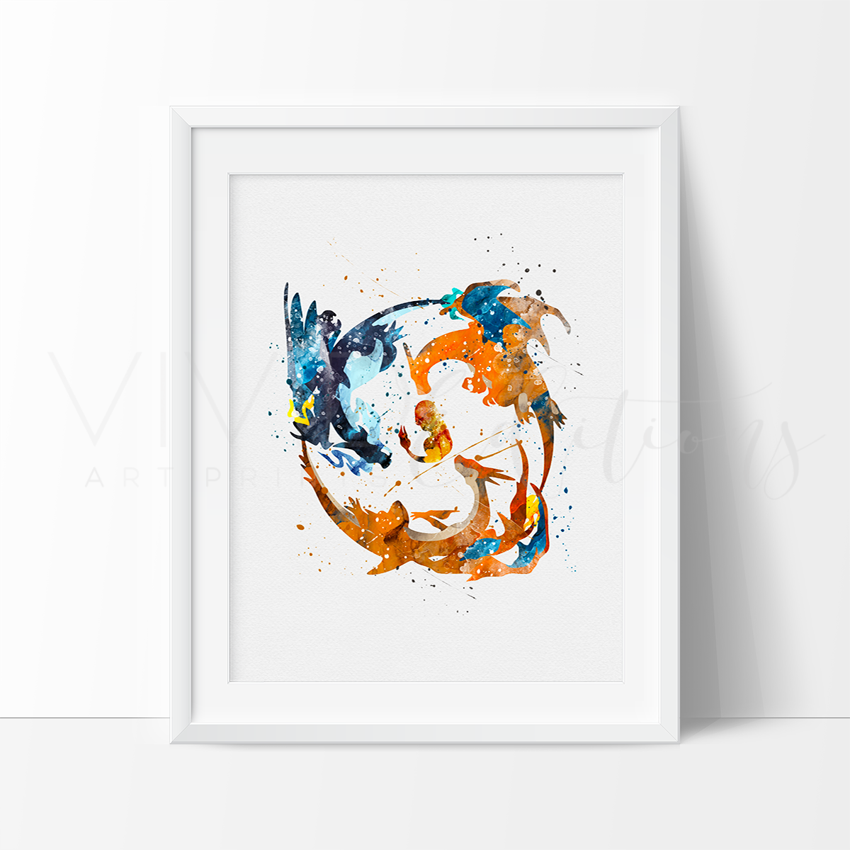 Charmander 2, Pokemon Go Watercolor Art Print Art Print - VIVIDEDITIONS