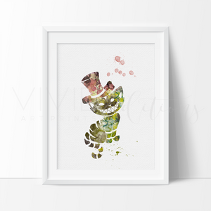 Cheshire Cat 2, Alice in Wonderland Watercolor Art Print Art Print - VIVIDEDITIONS