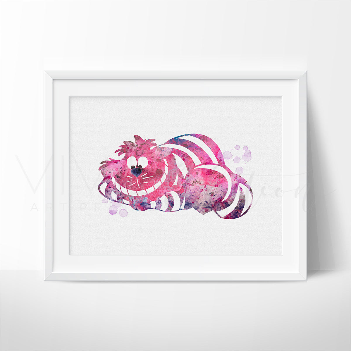 Cheshire Cat, Alice in Wonderland Watercolor Art Print Art Print - VIVIDEDITIONS