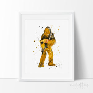 Chewbacca Star Wars Watercolor Art Print Art Print - VIVIDEDITIONS