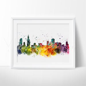 Chicago Skyline Watercolor Art Print Art Print - VIVIDEDITIONS