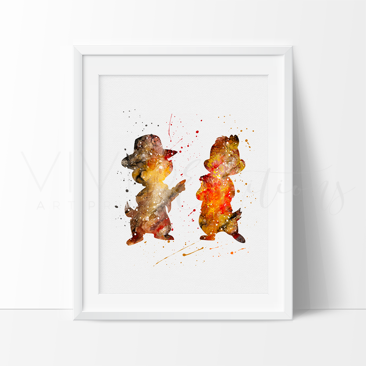 Chip & Dale, Rescue Rangers Watercolor Art Print Art Print - VIVIDEDITIONS