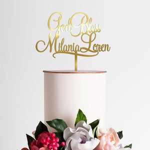 Personalized Christening / Baptism Cake Topper Art Print - VIVIDEDITIONS