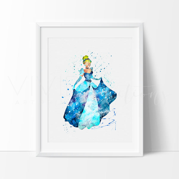 Cinderella disney princess nursery art print wall decor for Disney princess wall mural tesco