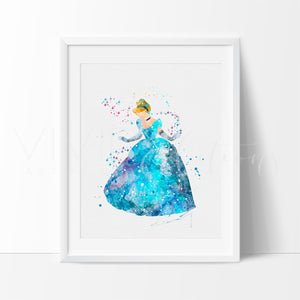 Cinderella 5 Watercolor Art Print Art Print - VIVIDEDITIONS
