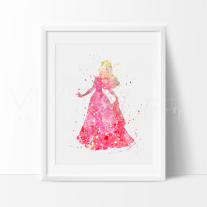 Aurora Sleeping Beauty Princess Nursery Art Print Wall Decor