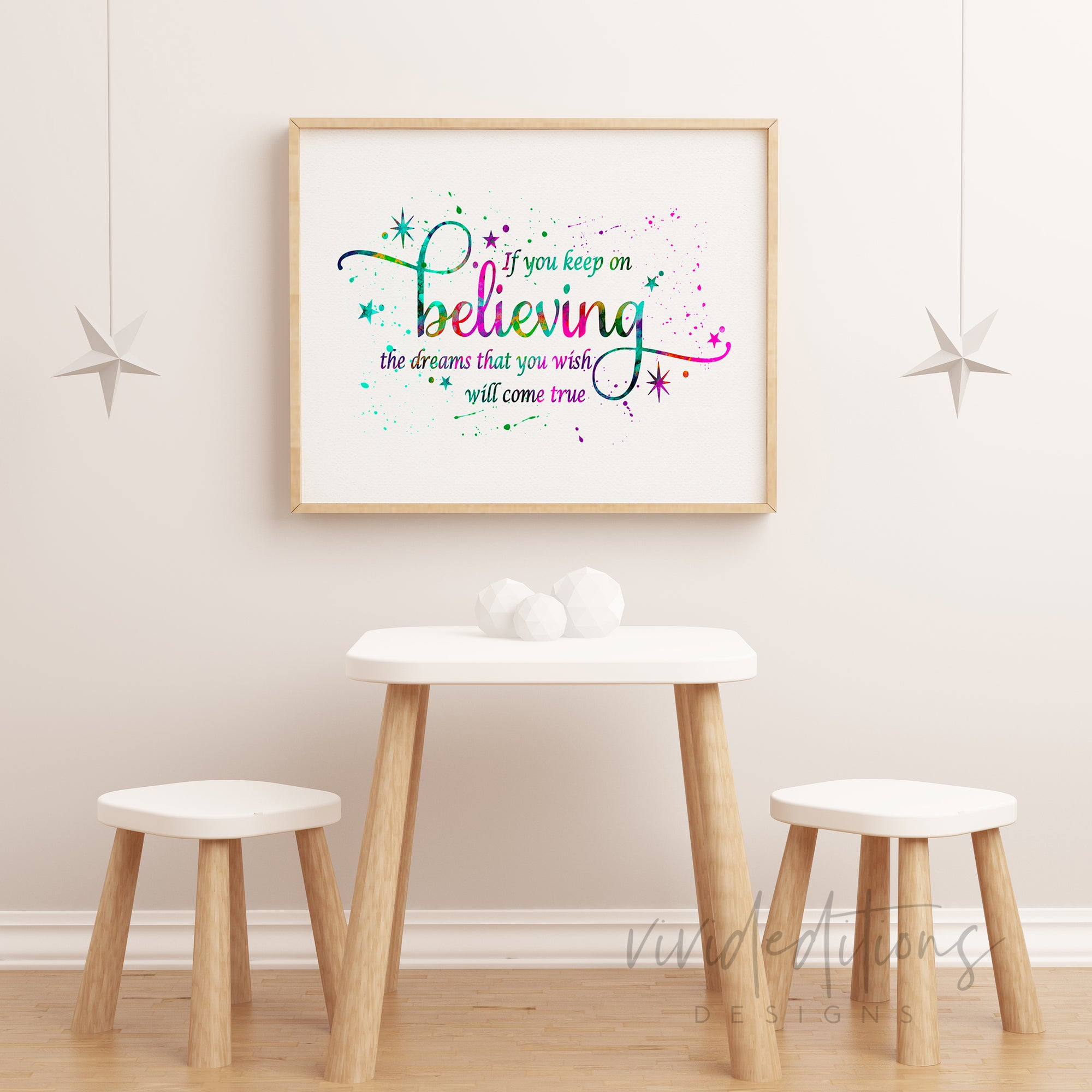 'If You Keep on Believing', Cinderella Quote Watercolor Art Print Art Print - VIVIDEDITIONS