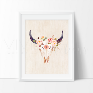 Floral Cow Skull Art Print - VIVIDEDITIONS