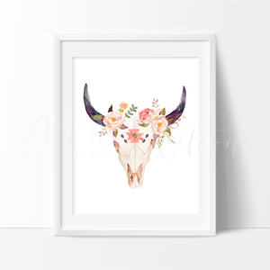 Floral Cow Skull 2 Art Print - VIVIDEDITIONS