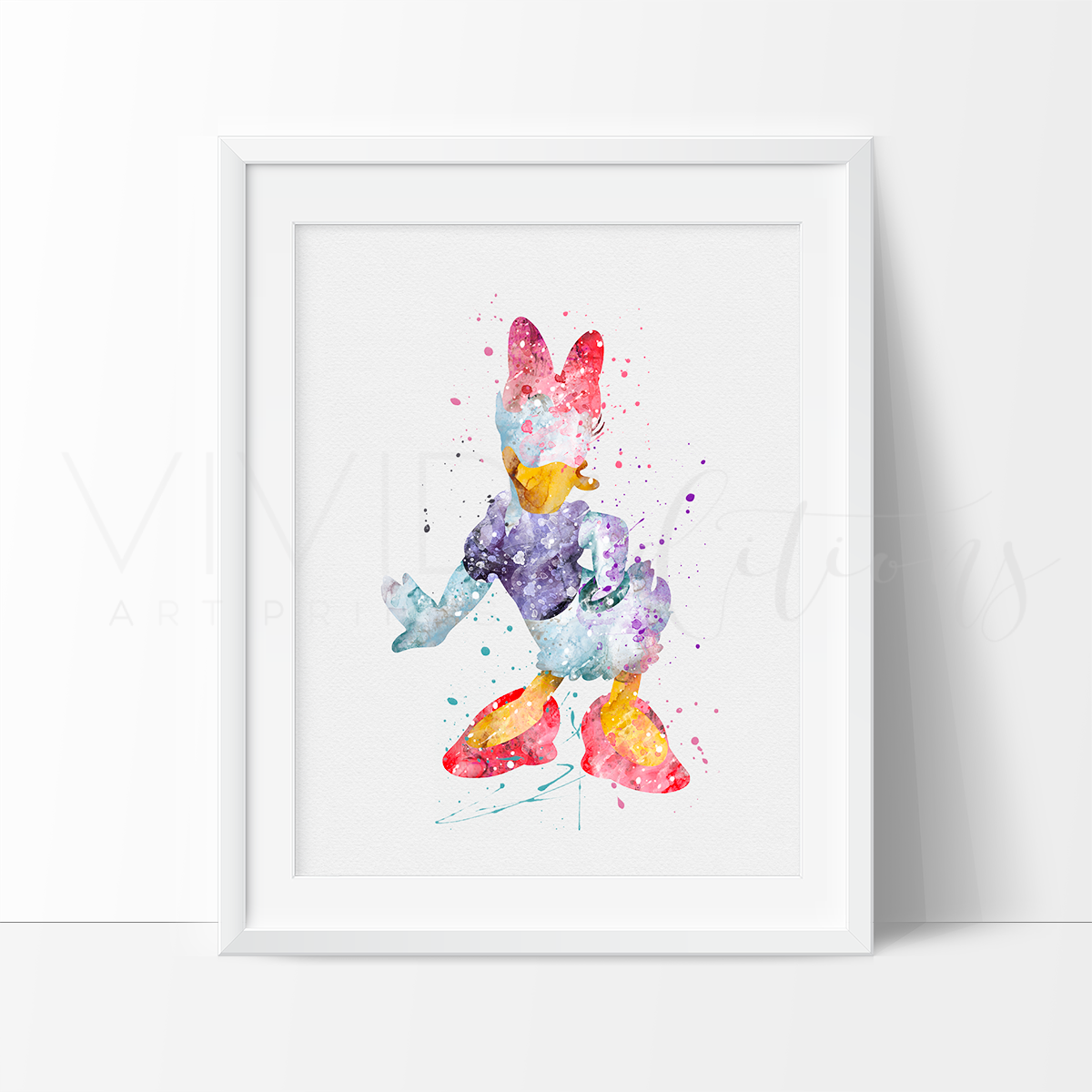 Daisy Duck Watercolor Art Print Art Print - VIVIDEDITIONS