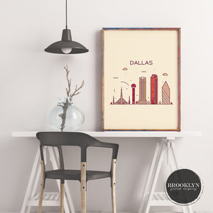 Dallas Skyline Travel Poster Art Print - VIVIDEDITIONS