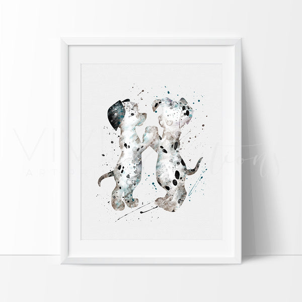 101 Dalmatians Dogs Watercolor Art Print Art Print - VIVIDEDITIONS