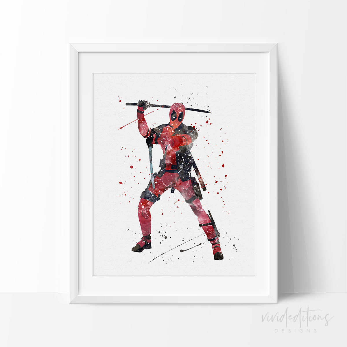 Deadpool Watercolor Art Print 2 Art Print - VIVIDEDITIONS