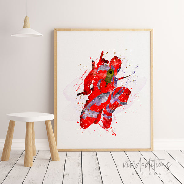 Deadpool Watercolor Art Print Art Print - VIVIDEDITIONS