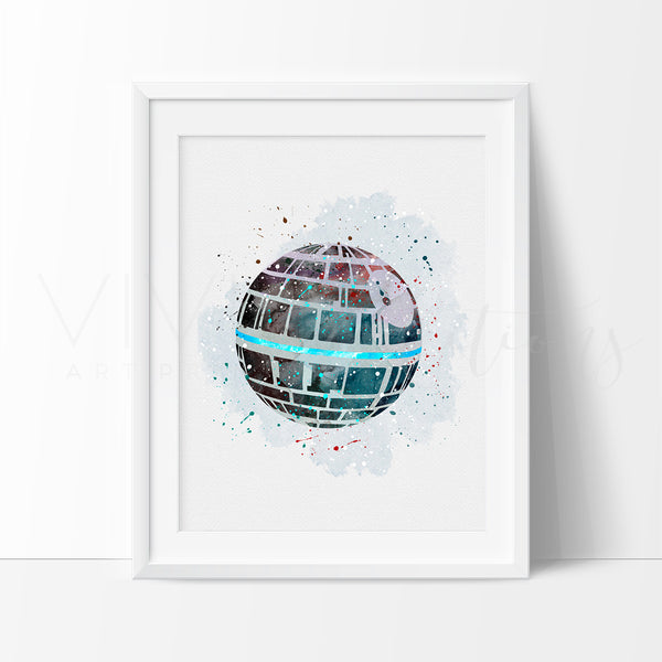 Death Star Watercolor Art Print Art Print - VIVIDEDITIONS