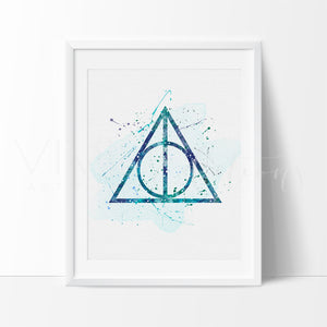 The Deathly Hallows, Harry Potter Watercolor Art Print Art Print - VIVIDEDITIONS