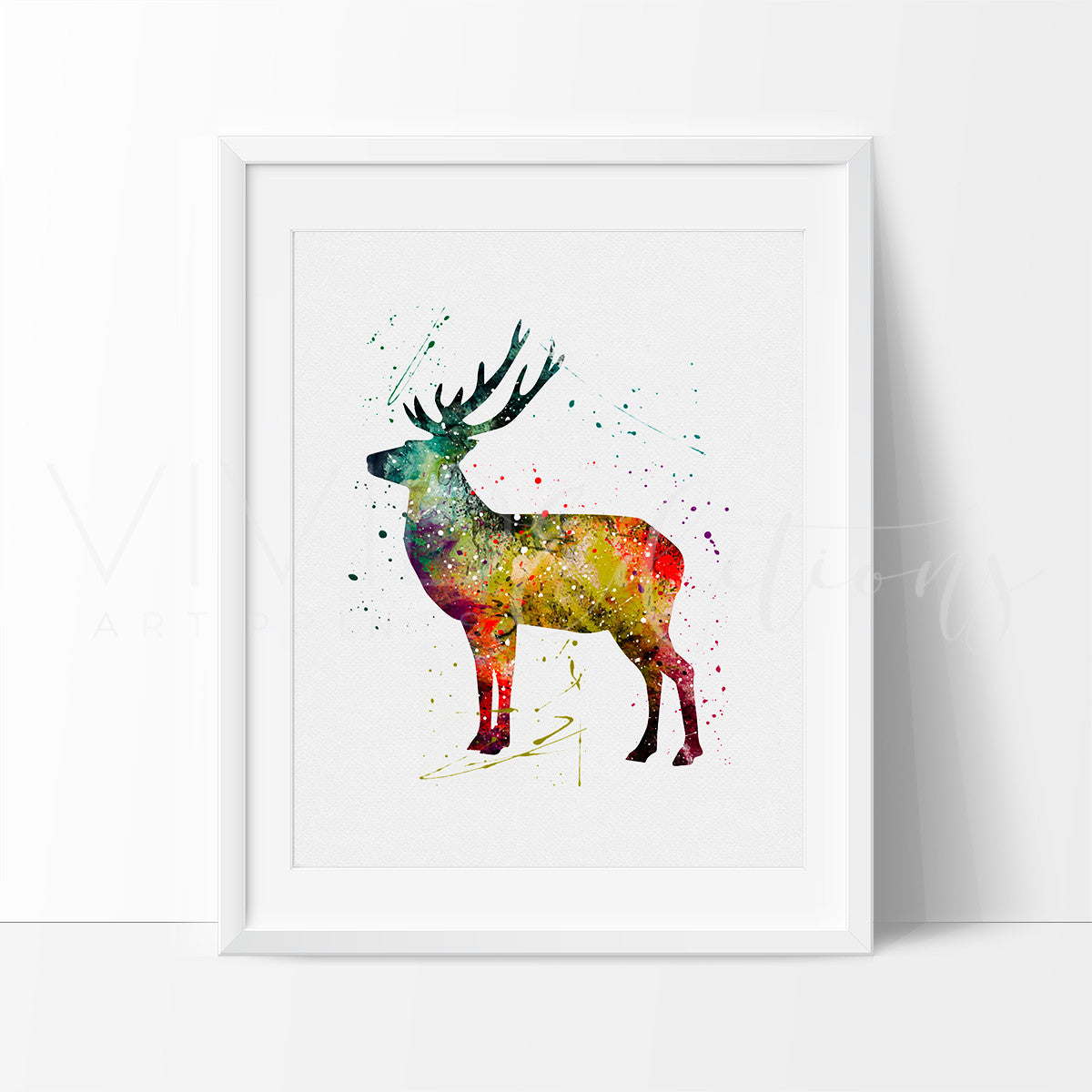 Deer Stag Woodland Watercolor Art Print, Baby Nursery Art Print Wall Decor,  Woodland Theme Vacation Home Art, Not Framed, No. 116