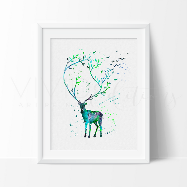 Harry + James Potter Stag Patronus Watercolor Art Print - VIVIDEDITIONS