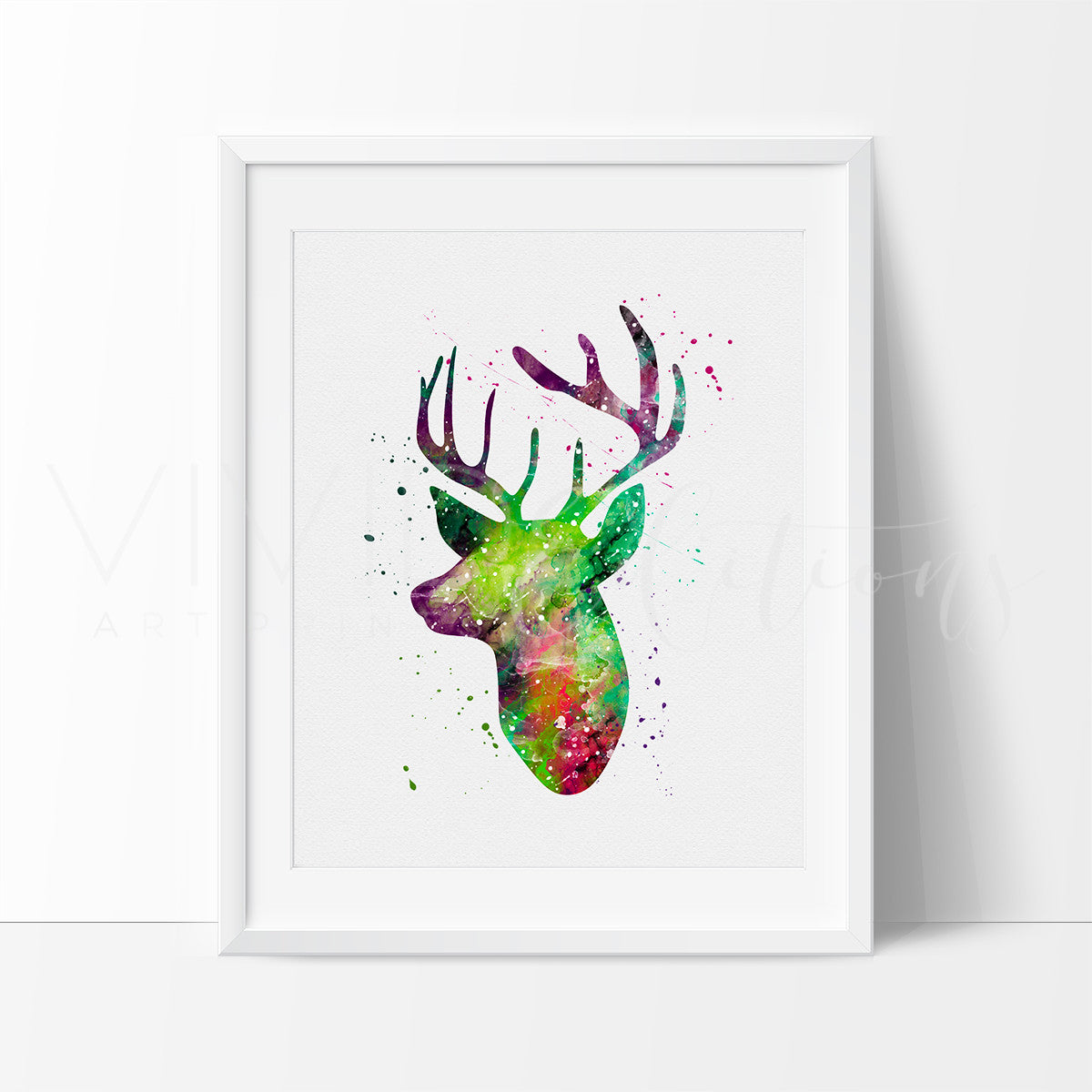 Deer Stag Head Watercolor Art Print Art Print - VIVIDEDITIONS