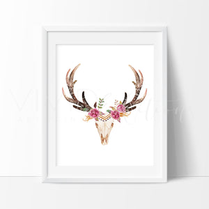 Floral Deer Skull 2 Art Print - VIVIDEDITIONS