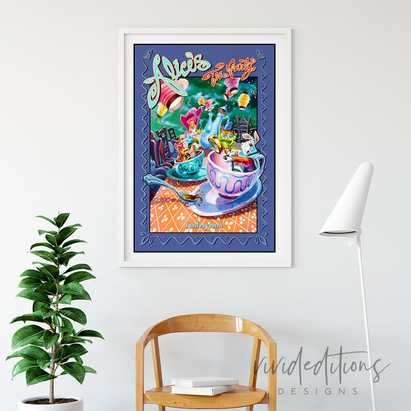 Alice in Wonderland, Tea Party, Disneyland Poster Art Print - VIVIDEDITIONS