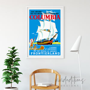 Columbia Sailing Ship, Disneyland Poster Art Print - VIVIDEDITIONS