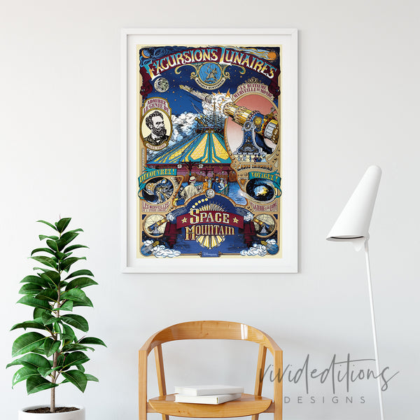 Space Mountain Paris, Disneyland Poster Art Print - VIVIDEDITIONS