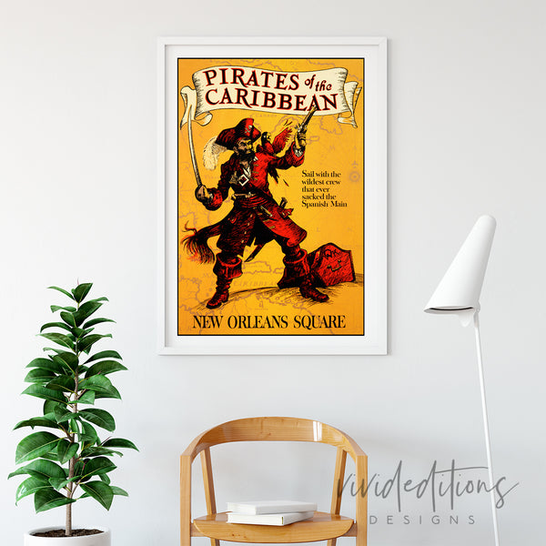 Pirates of The Caribbean, Disneyland Poster Art Print - VIVIDEDITIONS