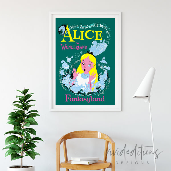 Alice in Wonderland, Disneyland Poster Art Print - VIVIDEDITIONS