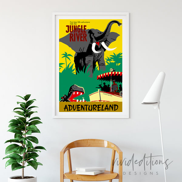 Jungle River, Disneyland Poster Art Print - VIVIDEDITIONS