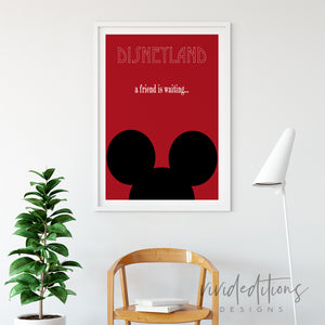 Mickey Mouse Ears, Disneyland Poster Art Print - VIVIDEDITIONS