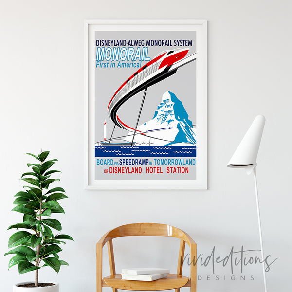 Monorail, Disneyland Poster Art Print - VIVIDEDITIONS