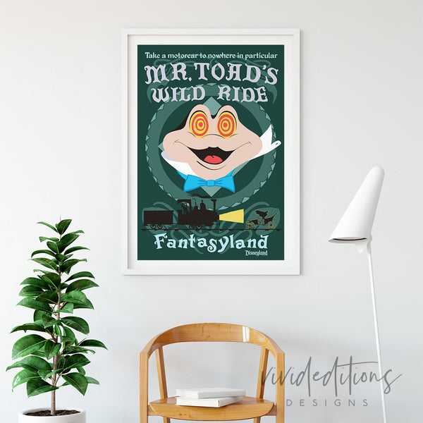 Disneyland Poster Mr. Toad's Wild Ride Fantasyland