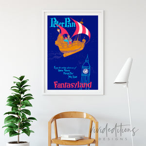 Peter Pan, Disneyland Poster Art Print - VIVIDEDITIONS