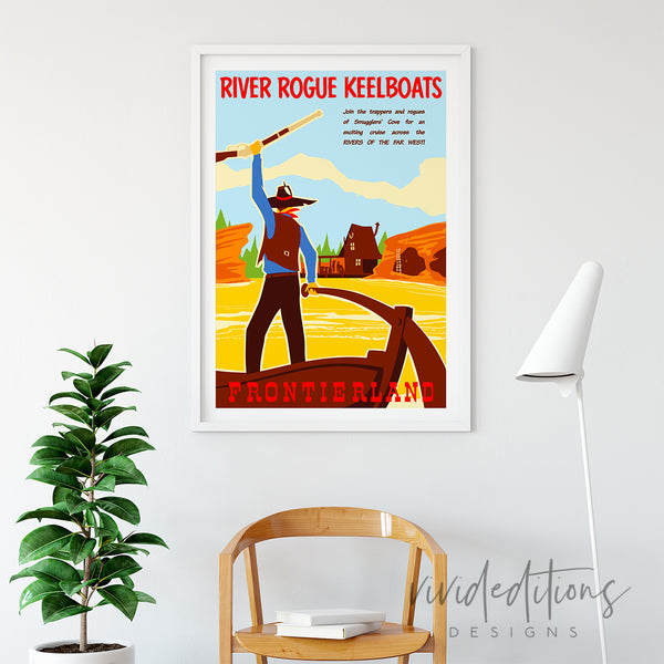 River Rogue Keelboats, Disneyland Poster Art Print - VIVIDEDITIONS