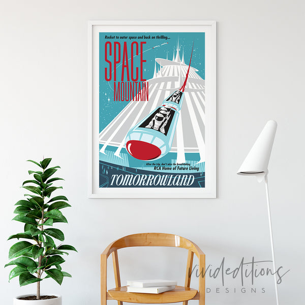 Space Mountain Tomorrowland, Disneyland Poster Art Print - VIVIDEDITIONS