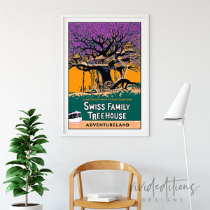 Swiss Family Treehouse, Disneyland Poster Art Print - VIVIDEDITIONS